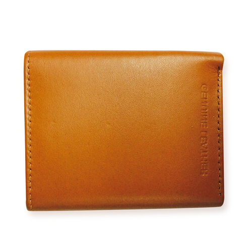 Genuine Leather Tan Colour RFID Blocker Bi-Fold Men Wallet with Card Holder (Size 11x9 Cm)