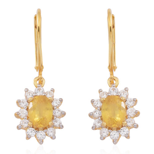 Chanthaburi Yellow Sapphire (Ovl), Natural White Cambodian Zircon Earrings in 14K Gold Overlay Sterling Silver 3.250 Ct.