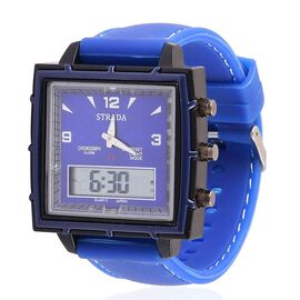 STRADA Chinese Movement Blue Colour Analog - Digital Watch in Black Tone with Blue Colour Silicone Strap