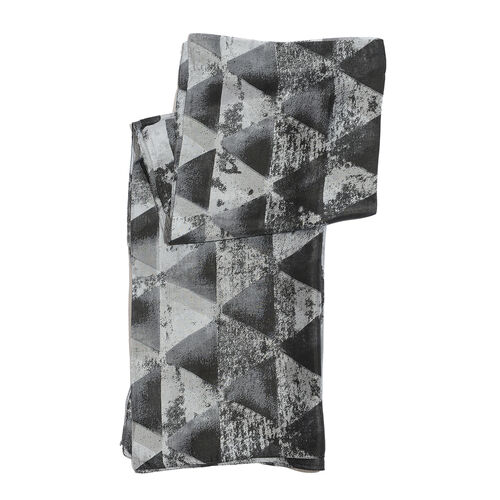 100% Mulberry Silk Triangle Printed Black and Grey Colour Pareo (Size 180x100 Cm)