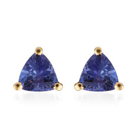 Tanzanite (Trl) Stud Earrings (with Push Back) in 14K Gold Overlay Sterling Silver 0.500 Ct.
