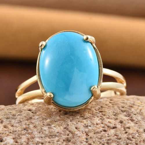 Arizona Sleeping Beauty Turquoise (Ovl) Solitaire Ring in 14K Gold Overlay Sterling Silver 6.000 Ct.