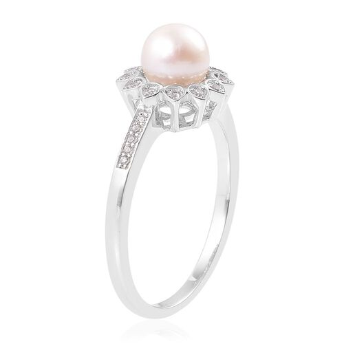 Japanese Akoya Pearl (Rnd 7-8mm), White Zircon Ring in Platinum Overlay Sterling Silver