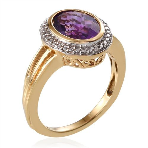 Amethyst (Ovl 3.40 Ct), Diamond Ring in 14K Gold Overlay Sterling Silver 3.500 Ct.
