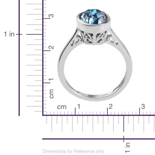 J Francis Crystal from Swarovski - Aquamarine Colour Crystal (Ovl) Solitaire Ring in Platinum Overlay Sterling Silver