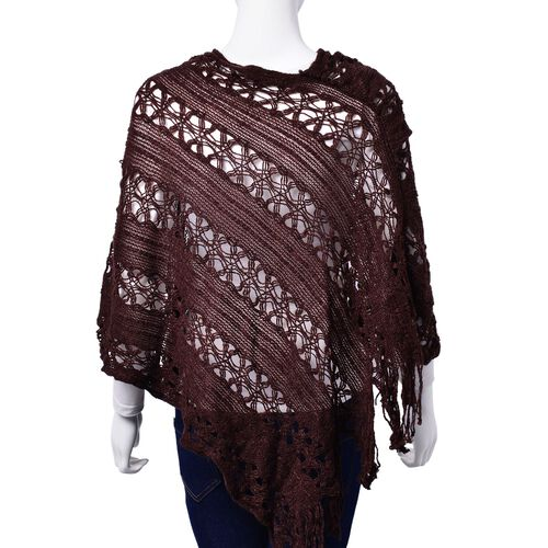 Chocolate Colour Poncho with Tassel (Size 50 Cm)