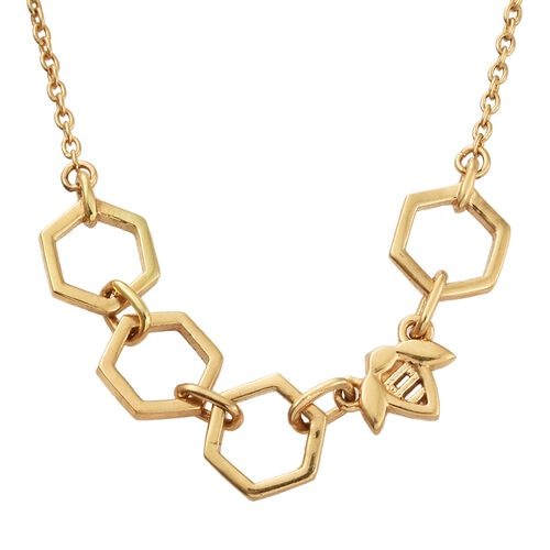 JCK Vegas Collection - Honey Comb Necklace (Size 18) in Gold Overlay Silver