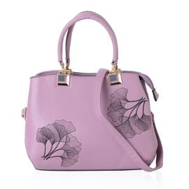 Purple and Black Colour Ginkgo Leaf Pattern Tote Bag with External Zipper Pocket and Removable Shoulder Strap (Size 29x22x13 Cm)