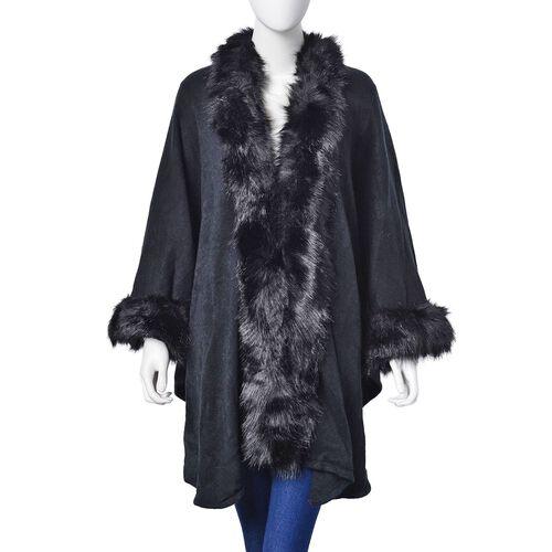 New Season - Designer Inspired - Super Soft Black Colour Longer Line Kimono Cape with Faux Fur on Edges (Free Size)