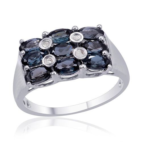 London Blue Topaz (Ovl), Diamond Ring in Platinum Overlay Sterling Silver 2.600 Ct.