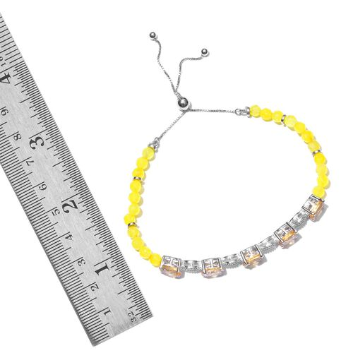 Citrine (Ovl), Yellow Quartzite Adjustable Bracelet (Size 6.5-8.5) in Platinum Overlay Sterling Silver 21.500 Ct.