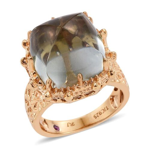 Royal Jaipur Green Amethyst (Cush 16.50 Ct), Burmese Ruby Ring in 14K Gold Overlay Sterling Silver 16.530 Ct.