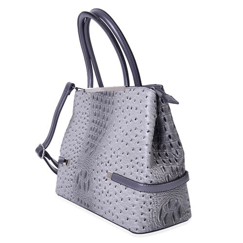 Designer Inspired-Grey and Black Colour Croc Embossed Tote Bag with External Zipper Pocket and Adjustable Shoulder Strap (Size 38X26.5X13 Cm)