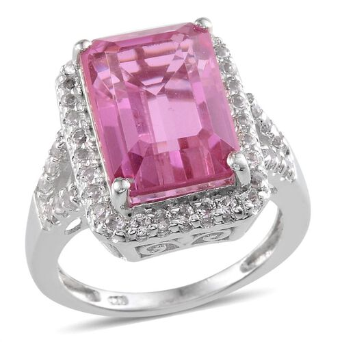 Kunzite Colour Quartz (Oct 8.75 Ct), White Topaz Ring in Platinum Overlay Sterling Silver 9.000 Ct.