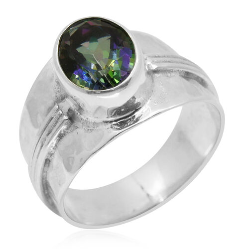 Royal Bali Collection Northern Lights Mystic Topaz (Ovl) Solitaire Ring in Sterling Silver 2.500 Ct.