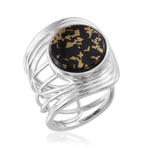 Goldenite (Rnd) Ring in Platinum Overlay Sterling Silver 6.750 Ct.