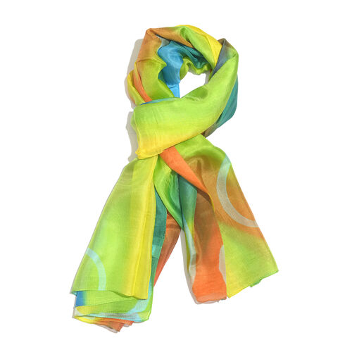 100% Mulberry Silk Green, Blue and Multi Colour Handscreen Printed Scarf (Size 180x100 Cm)