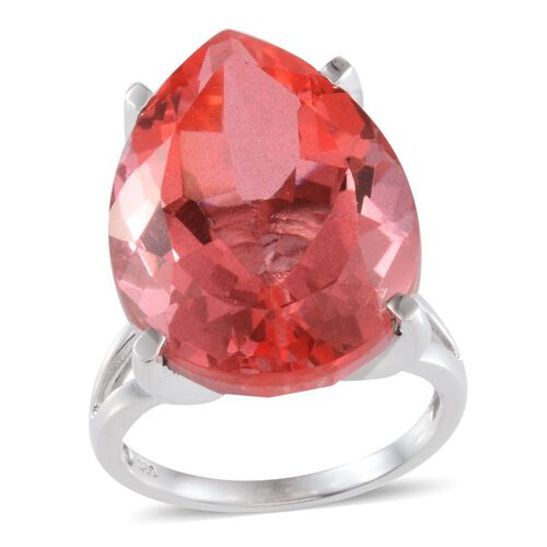 Padparadscha Colour Quartz (Pear) Ring in Platinum Overlay Sterling Silver 31.750 Ct.