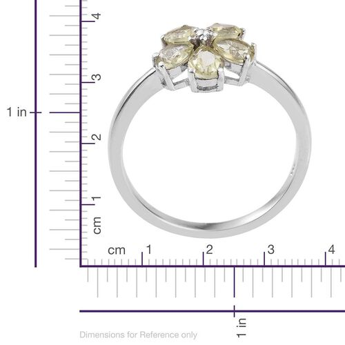 Natural Canary Apatite (Pear) Floral Ring in Platinum Overlay Sterling Silver 1.750 Ct.