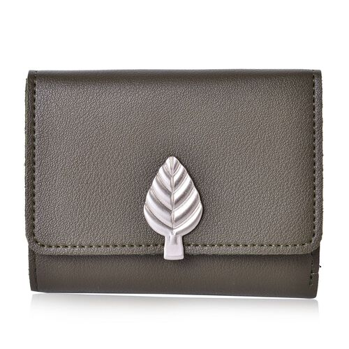 Olive Green Ladies Leaf  Wallet with Multiple Card Slots  (Size 11.5X9X1 Cm)