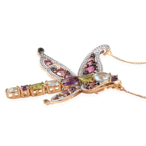 GP Sky Blue Topaz (Rnd 1.33 Ct), Rhodolite Garnet, Amethyst, Hebei Peridot and Multi Gem Stone Dragonfly Necklace (Size 18) in Yellow Gold Overlay Sterling Silver 9.640 Ct.