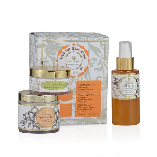 (Option 2) Just Herbs Silksplash (100ml) and Apricot Sparkle Invigorating Skin Radiance Scurb (100g) and Silkskin Indian Ginseng Moisturising Cream (Normal/Dry) (50g)