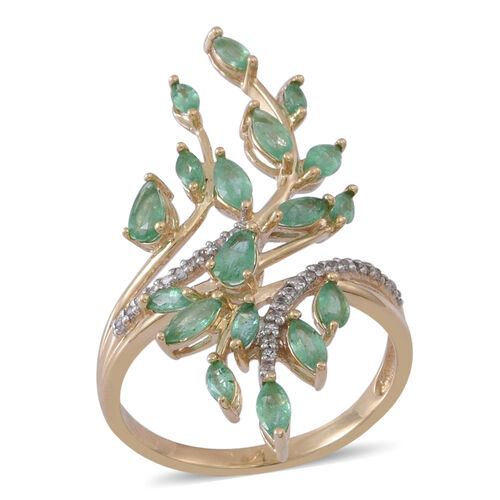 9K Y Gold AAA Kagem Zambian Emerald (Pear), Natural Cambodian White Zircon Leaves Crossover Ring 2.500 Ct.