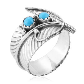 Royal Bali Collection Arizona Sleeping Beauty Turquoise (Rnd) Ring in Sterling Silver 0.540 Ct.