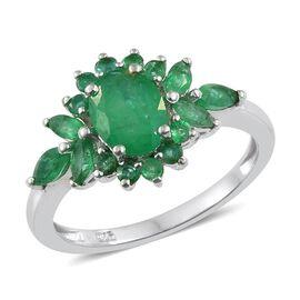 Kagem Zambian Emerald (Ovl) Ring in Platinum Overlay Sterling Silver 2.000 Ct.