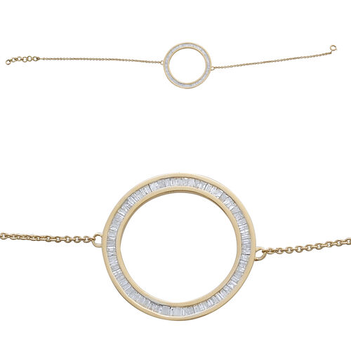 9K Yellow Gold SGL Certified Diamond (Bgt) (I3/G-H) Circle of Life Bracelet (Size 7.5) 1.000 Ct.