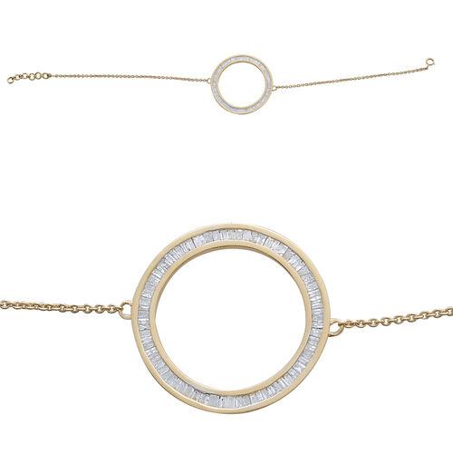 9K Y Gold SGL Certified Diamond (Bgt) (I3/G-H) Circle of Life Bracelet (Size 7.5) 1.000 Ct.
