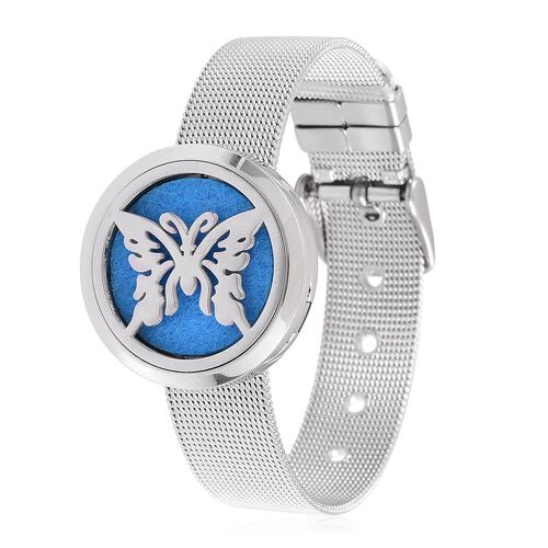 Butterfly Design Watch Look Bracelet (Size 5.5 to 7.5) in Stainless Steel