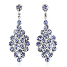 Tanzanite (Pear), Natural Cambodian Zircon Cluster Earrings (with Push Back) in Platinum Overlay Sterling Silver 5.750 Ct, Silver wt 11.47 Gms