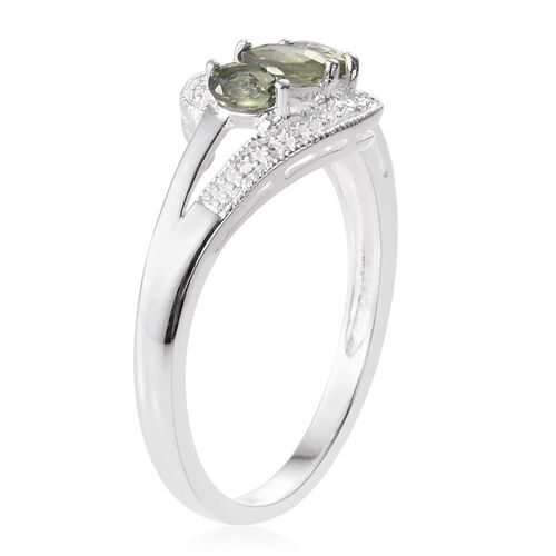Songea Green Sapphire (Ovl) 3 Stone Ring in Sterling Silver