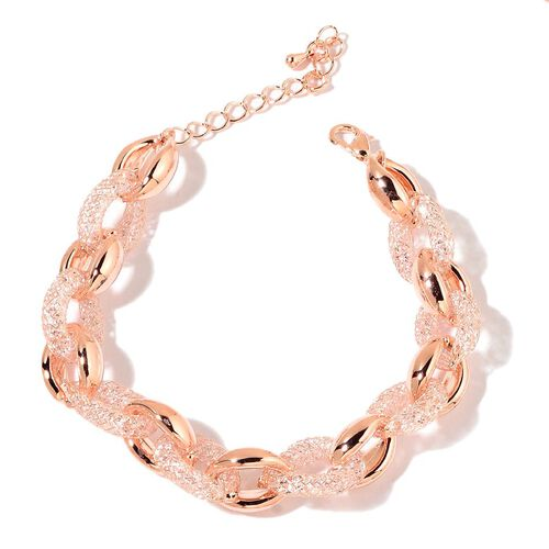 White Austrian Crystal Necklace (Size 18 with 2 inch Extender) and Bracelet (Size 8 with 1.5 inch Extender) in Rose Gold Tone