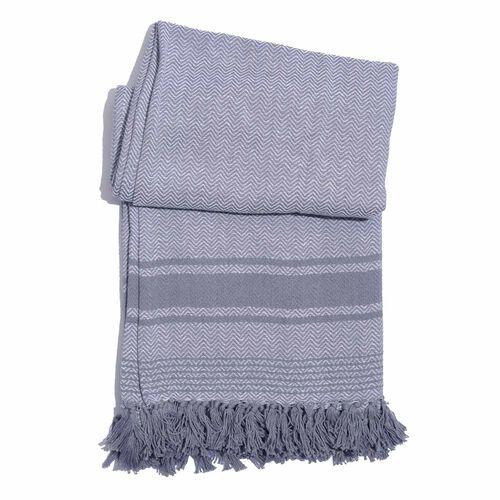 100% Cotton Chevron Pattern Light Grey Colour Plaid with Fringes (Size 160x130 Cm)
