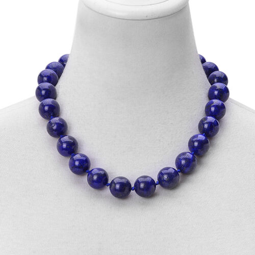 Large AAA Lapis Lazuli (18mm) Ball Beads Necklace (Size 20) with Magnetic Clasp in Rhodium Plated Sterling Silver 1106.500 Ct.
