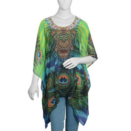 Designer Inspired- Green, Blue and Multi Colour Crystal Embellished Peacock Pattern Apparel (Size 80x65 Cm)