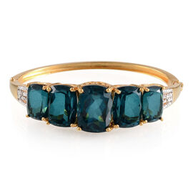 Indicolite Quartz (Cush 16.25 Ct), Diamond Bangle (Size 7.5) in 14K Gold Overlay Sterling Silver 55.550 Ct.