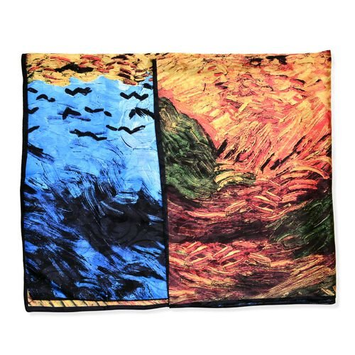 One Time Deal-Designer Inspired - 100% Mulberry Silk Blue, Yellow and Multi Colour Cornfield Pattern Scarf (Size 88x85 Cm)