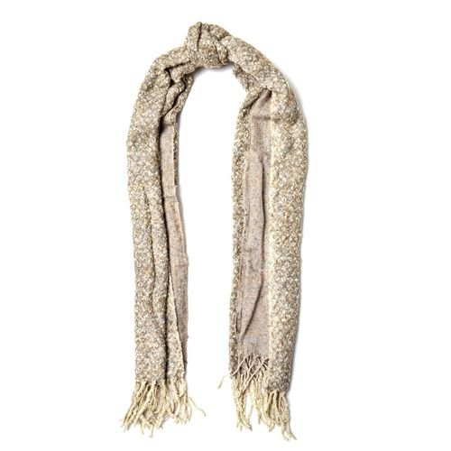 Designer Inspired-Khaki and Grey Colour Scarf with Tassels (Size 180x60 Cm)
