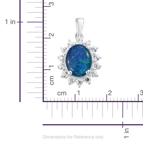 Australian Boulder Opal (Ovl 10x8 mm), Natural Cambodian Zircon Pendant in Sterling Silver 2.500 Ct.