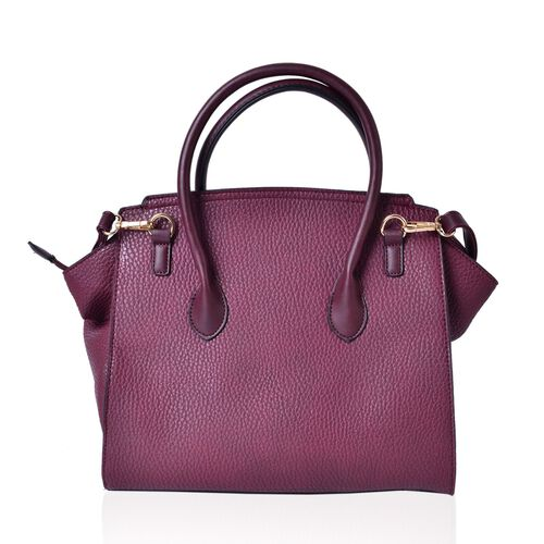 Classic Burgundy City Tote Bag with Adjustable and Removable Shoulder Strap (Size 32X30X15 Cm)