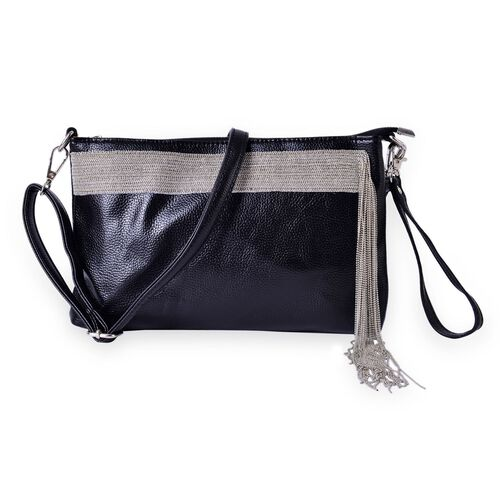 Dazzling Black Silver Beads Tassels Crossbody Bag with Adjustable and Removable Shoulder Strap (Size 28x18x3 Cm)