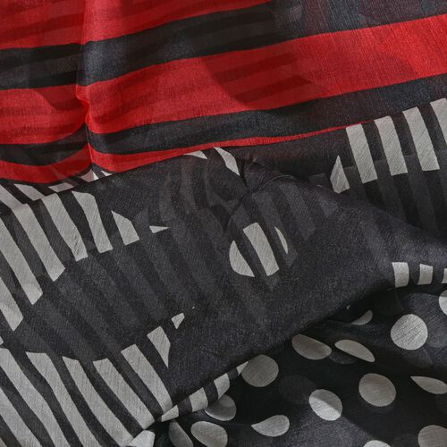 100% Mulberry Silk Red, Black and White Colour Handscreen Polka Dots and Floral Printed Scarf (Size 200X180 Cm)