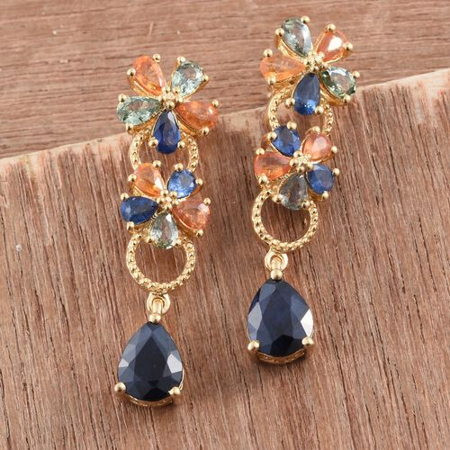 Kanchanaburi Blue Sapphire (Pear), Green Sapphire, Orange Sapphire Earrings (with Push Back) in 14K Gold Overlay Sterling Silver 8.000 Ct.
