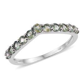 9K White Gold 1 Carat Natural Colour Change Alexandrite Wishbone Ring.