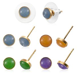 Set of 5 Green, Blue, Honey, Purple and Pink Jade Stud Earrings (With 5 Push Back) in 14K Gold Overlay Sterling Silver 10.000 Ct.