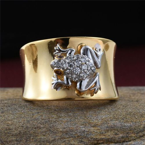 J Francis - Platinum and Yellow Gold Overlay Sterling Silver (Rnd) Frog Ring Made with White and Red SWAROVSKI ZIRCONIA.Silver Wt 9.25 Gms