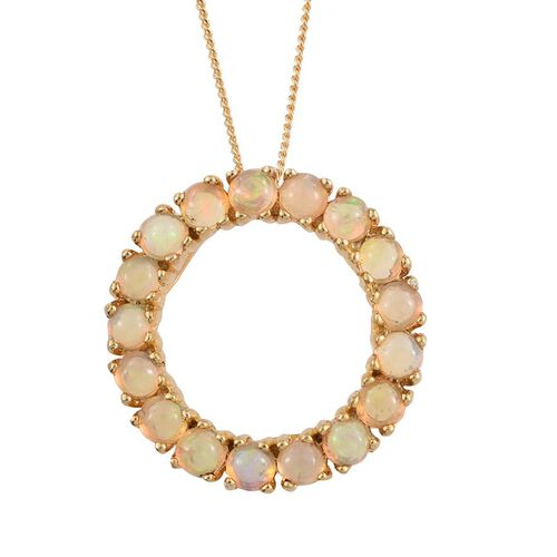 Ethiopian Welo Opal (Rnd) Circle of Life Pendant With Chain in 14K Gold Overlay Sterling Silver 1.250 Ct.